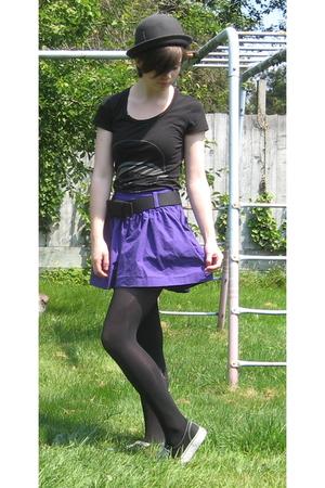 forever 21 skirt - Forever21 t-shirt - Vans shoes - Target hat - tights
