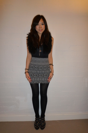 scarf - American Apparel top - Sportsgirl skirt - shoes