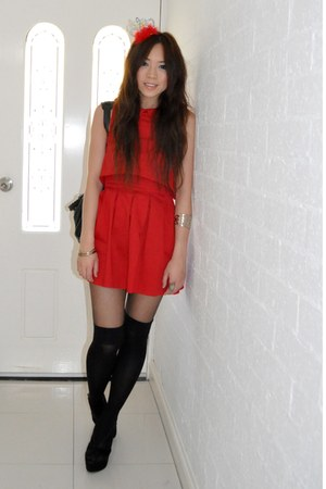 red open back dress asos dress - black Jeffrey Campbell wedges