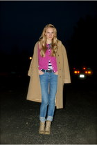 hot pink cardigan - dark khaki boots - camel coat - light blue jeans