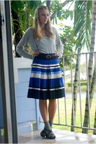 gray Express cardigan - gray OP t-shirt - blue H & M skirt - gray Target socks -
