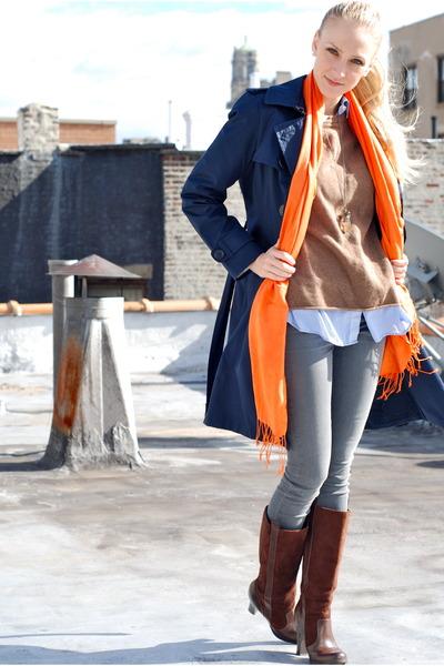 navy jacket - carrot orange scarf - dark brown boots - light brown sweater - lig