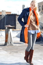 navy jacket - carrot orange scarf - dark brown boots - light brown sweater - lig
