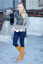 heather gray sweater - white t-shirt - black scarf - blue jeans - burnt orange b