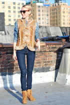 bronze boots - blue jeans - blue shirt - dark brown sunglasses - tawny vest