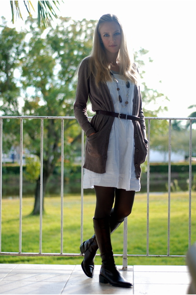 brown H & M cardigan - white Target dress - brown Express tights - brown Thrifte