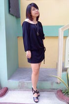 black Marks and Spencer dress - black Gibi - gold necklace accessories
