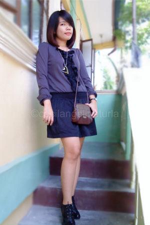 black dress - black shoes - brown Esprit - black Gucci accessories