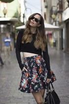 H&M skirt - Ray Ban sunglasses - Zara top