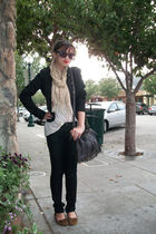 black H&M jacket - beige UO top - black Anchor Blue jeans - brown Target shoes -