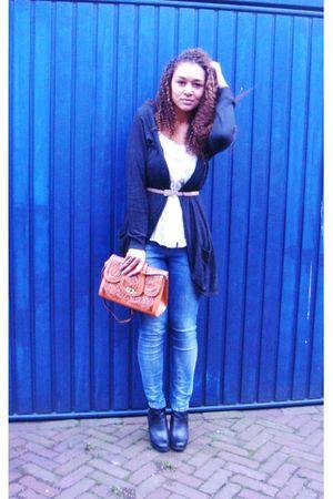 gray Vero Moda vest - beige Zara blouse - beige vintage belt - blue Zara jeans -