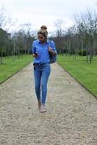 cream shoes - sky blue tailored Ralph Lauren shirt