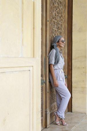 grey handmade scarf - utility H&M top - harem asos pants