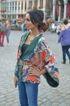 kimono Zara top - skinny J Brand jeans