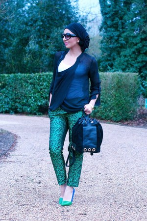 green brocade H&M pants - black backpack River Island bag - black sunglasses