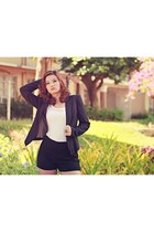 white Corset Singlet top - black Blazer blazer - High-Waiste Shorts shorts