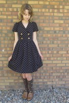 navy Forever 21 dress - dark brown Sock it to me socks - brown Blake Scott flats