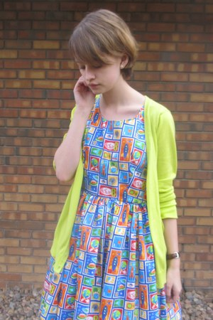 blue handmade dress - lime green unknown sweater - black DSW sandals