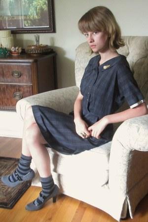 gray vintage dress - black Target socks - charcoal gray DSW heels