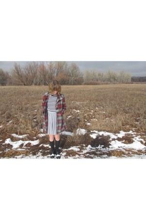 black unknown socks - blue striped H&M dress - black Ollio flats