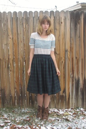 forest green tartan DIY skirt - tan kohls boots - cream Urban Outfitters sweater
