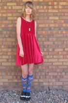 red velvet DIY dress - blue Target socks - black soda shoes flats