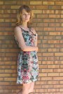 Navy-seventies-style-thrifted-dress-sky-blue-pastel-floral-thrifted-dress
