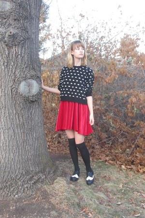 black polka dot Forever 21 sweater - red handmade DIY dress
