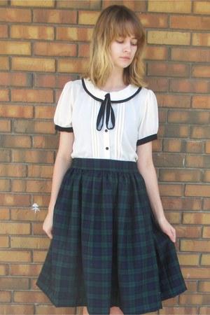forest green tartan handmade by me skirt - white Forever 21 blouse