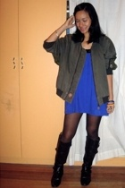thrifted jacket - Divisoria  dress - landmark tights - Ugo Santi boots