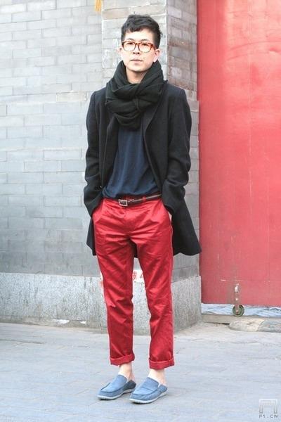 black H&M scarf - blue Crocs shoes - black J coat - brown Uniqlo belt