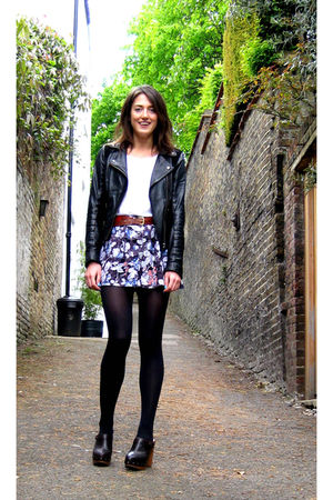 brown Topshop shoes - black Topshop jacket - blue Urban Outfitters shorts