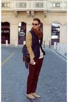 dark khaki ankle boots vintage boots - bronze H&M blazer