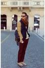 Dark-khaki-ankle-boots-vintage-boots-bronze-h-m-blazer