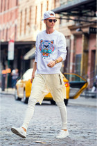 white Kenzo sweater - white guylook leggings - white H&M sneakers