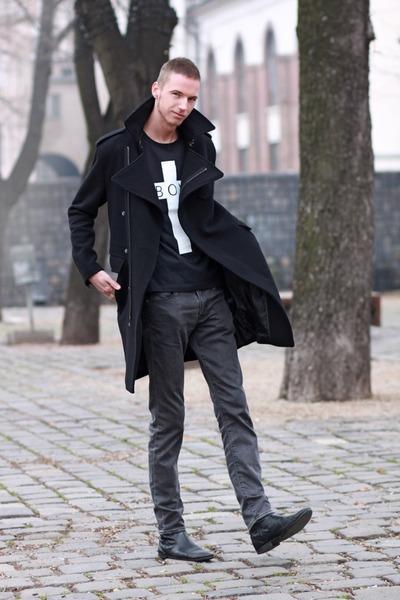 Men 39 s black leather boots zara boots black blakc long - Hm herren jeans ...
