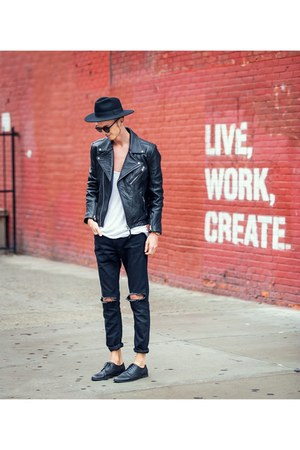 black diy jeans - black Masamod hat - black H&M jacket