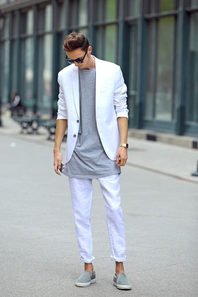Men's White White Suit Zara Suits, Periwinkle AxelArigato Shoes