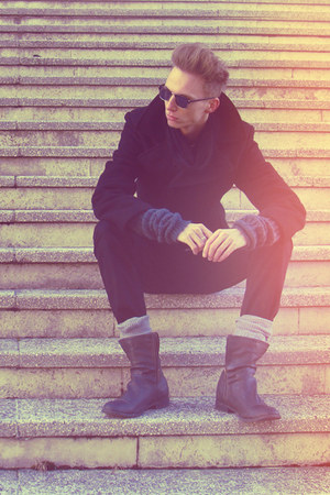 gray Bershka boots - black H&M coat - black H&M jeans - dark gray Bershka scarf