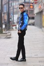 Black-leather-shoes-h-m-shoes-black-knit-vintage-hat-blue-choies-jacket