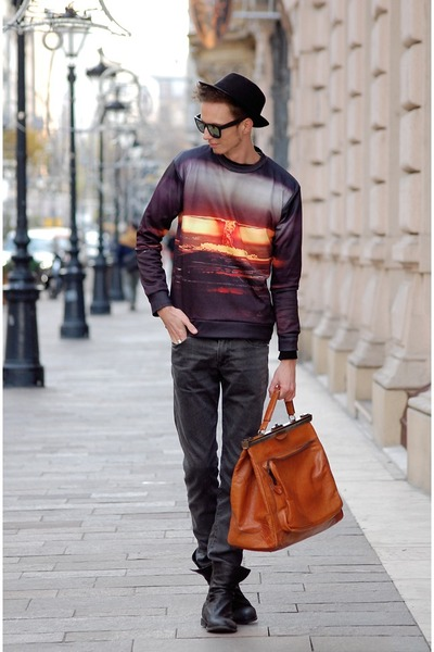 black Bershka boots - black vintage hat - carrot orange choiescom sweater