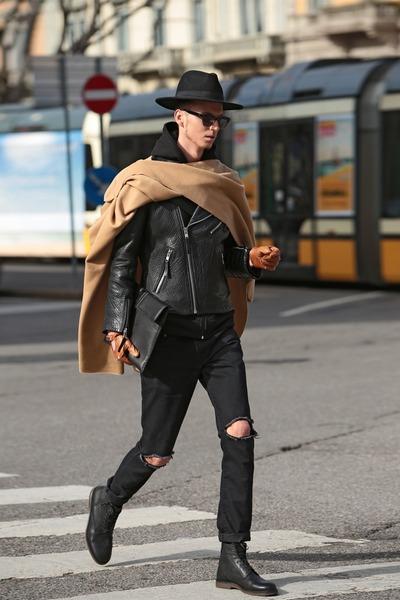 5e50bd438e7 black ripped jeans vintage jeans - black fedora hat - black H M jacket