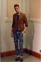 tawny camel blazer H&M blazer - navy Zara shirt - navy Zara pants