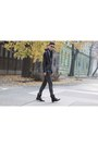 Black-leather-jacket-h-m-jacket-navy-vintage-checked-vintage-shirt