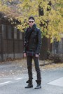 Black-leather-jacket-h-m-jacket-navy-vintage-checked-vintage-shirt