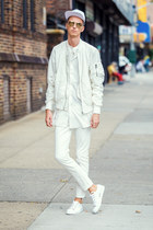 white H&M jeans - white bomber jacket H&M jacket - white H&M sneakers