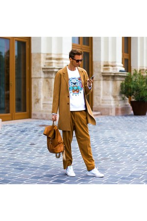 bronze H&M coat - white Kenzo sweater - bronze H&M pants - white Adidas sneakers
