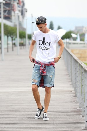 ivory dior mrsteve PS OUTFIT t-shirt - ruby red checked shirt Levis shirt