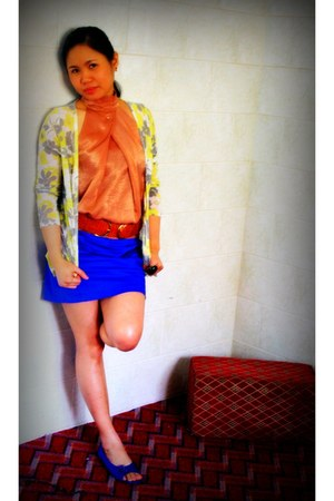 from online shop cardigan - From KSA skirt - From KSA belt - Forever 21 top
