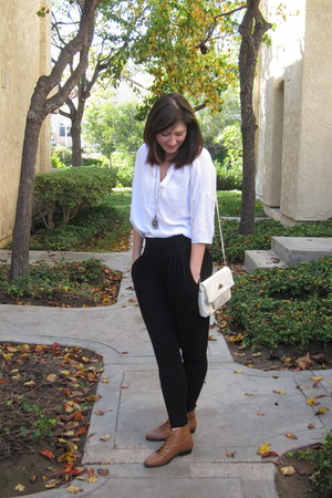 black thrifted pants - brown Urban Outfitters shoes - white Forever 21 shirt - p